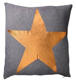 Dark Grey Melange Pillow with Copper Star