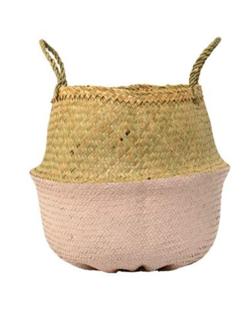 Natural & Rose Seagrass Basket