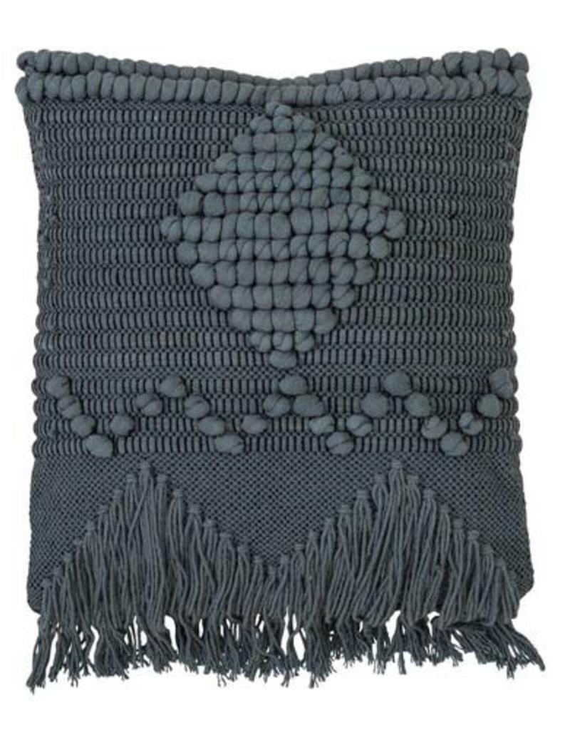 Macramé Textured Square Pillow - Blue