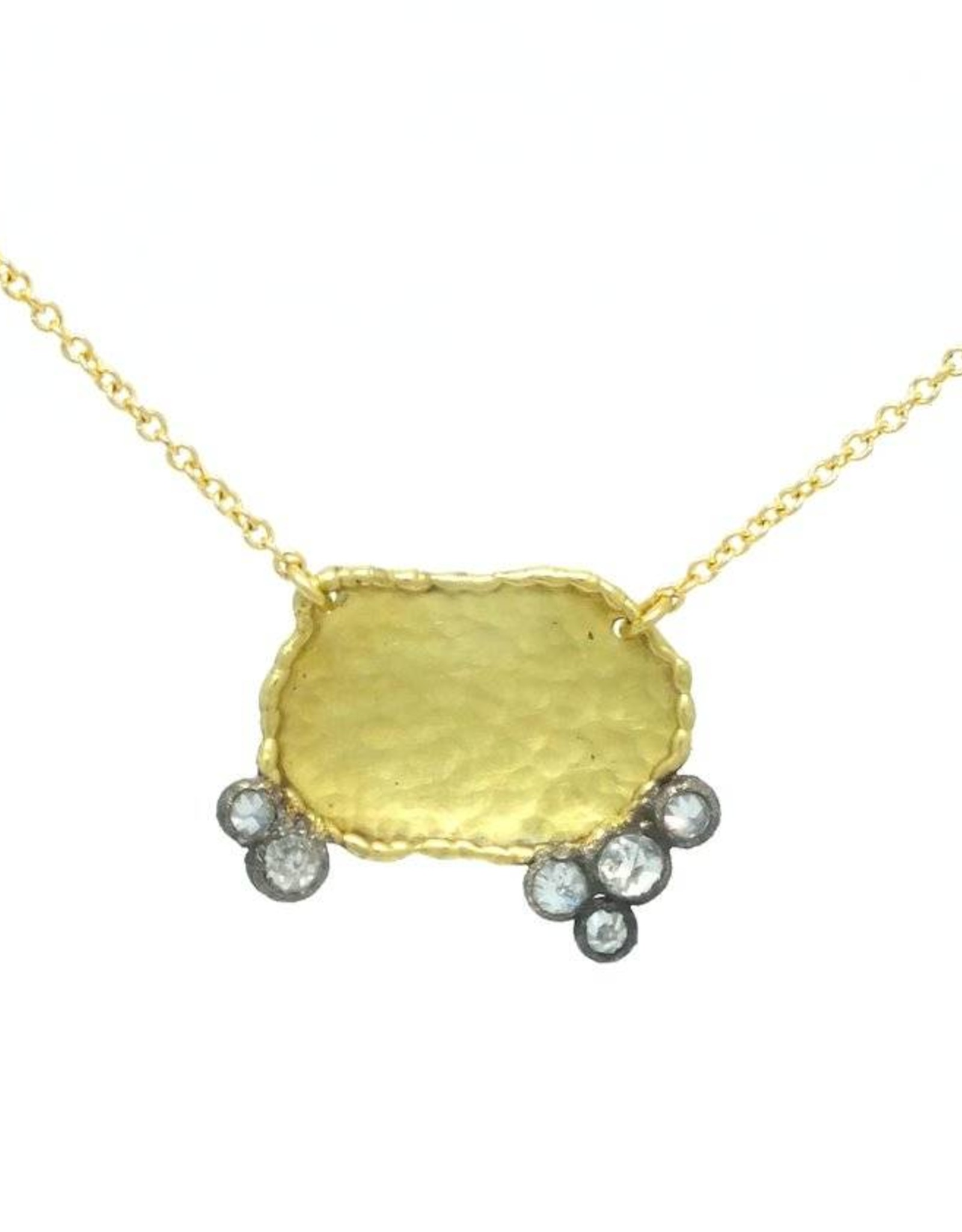 TAP by Todd Pownell Irregular Disc Necklace with 6 Diamonds