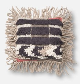 Loloi Grey Tassel Pillow with Coral Accents