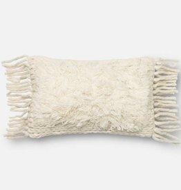 Loloi Ivory Lumbar Tassel Pillow