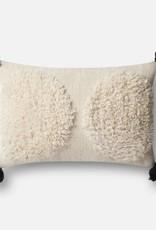 Loloi Ivory Lumbar PomPom Pillow