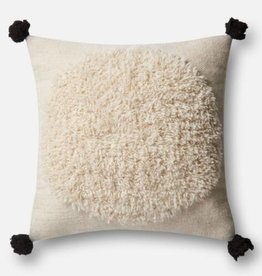 Loloi Ivory Square PomPom Pillow