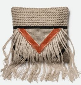 Loloi Beige Long Fringe Pillow with Orange Accents