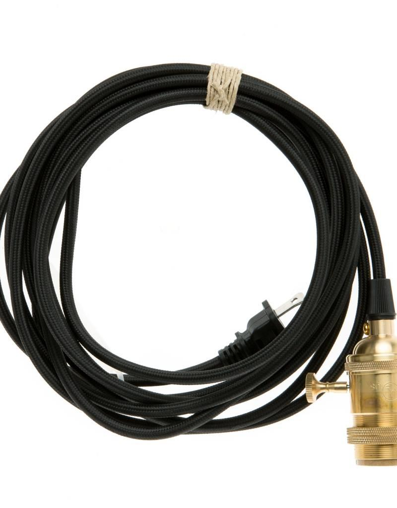 Color Cord Company Brass Plug-In Cord Set - Black