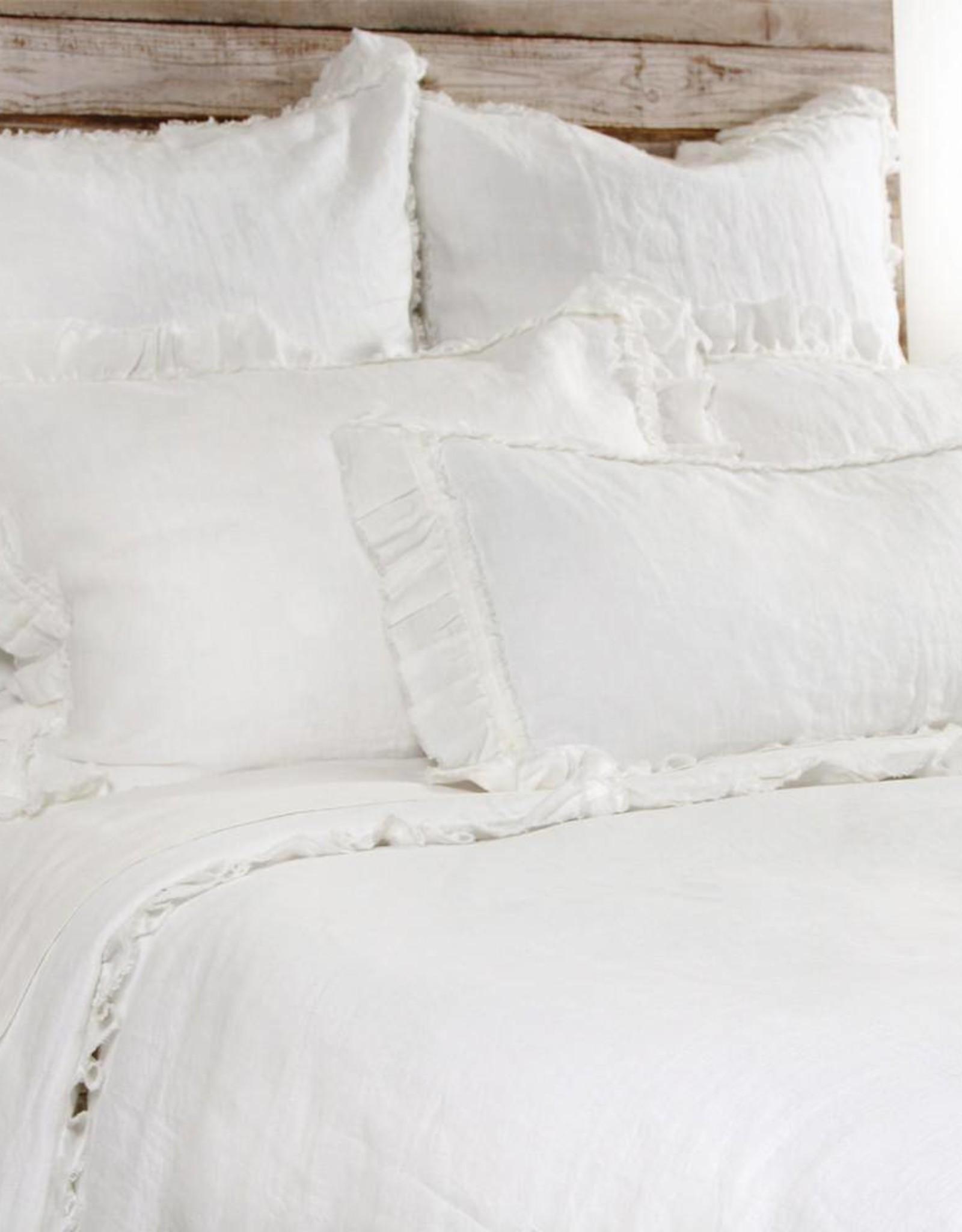 Pom Pom at Home Mathilde Lumbar Pillow with Ruffled Edge - Cream