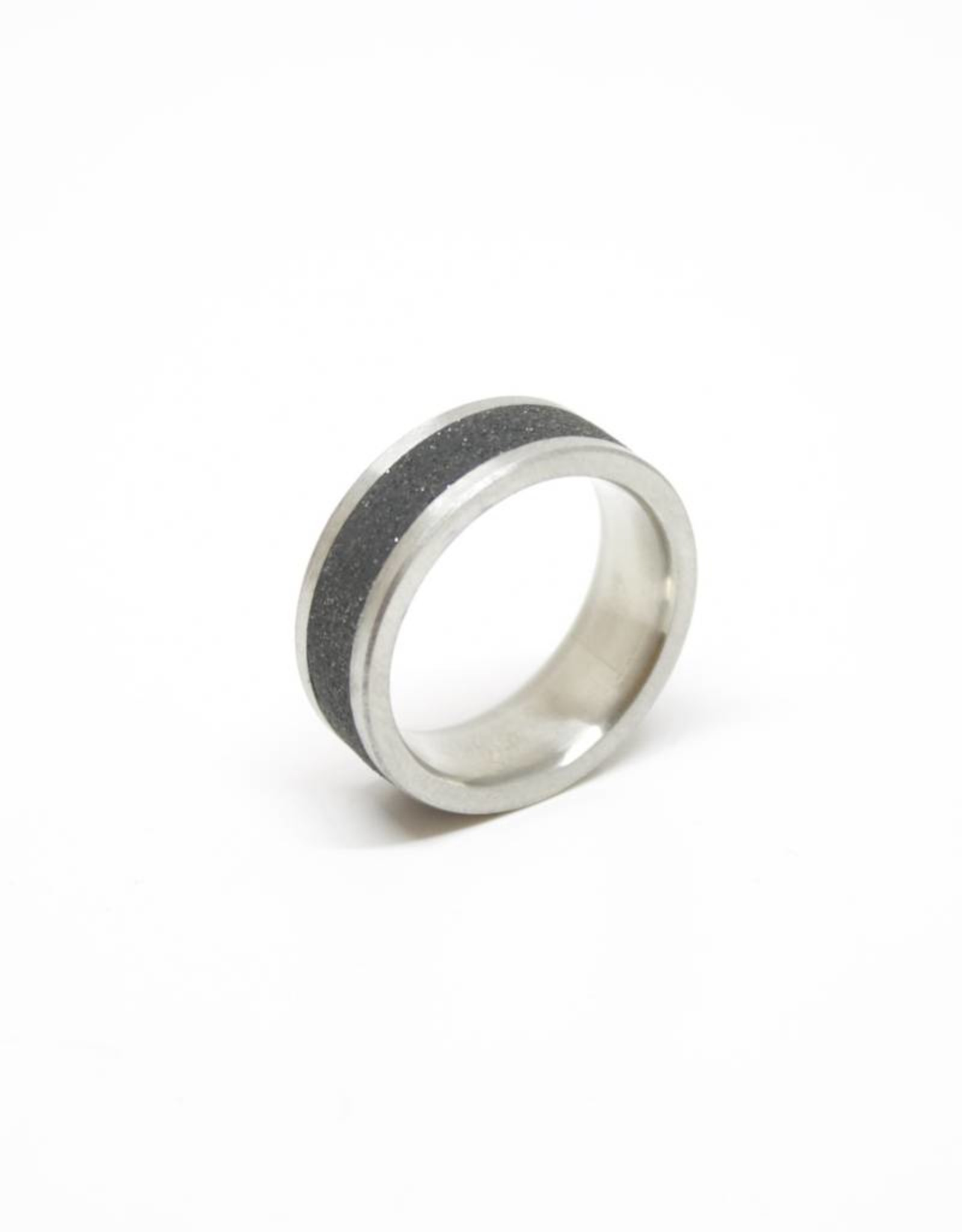 Konzuk Coal Black Concrete Ring with Diamond Dust - Thick