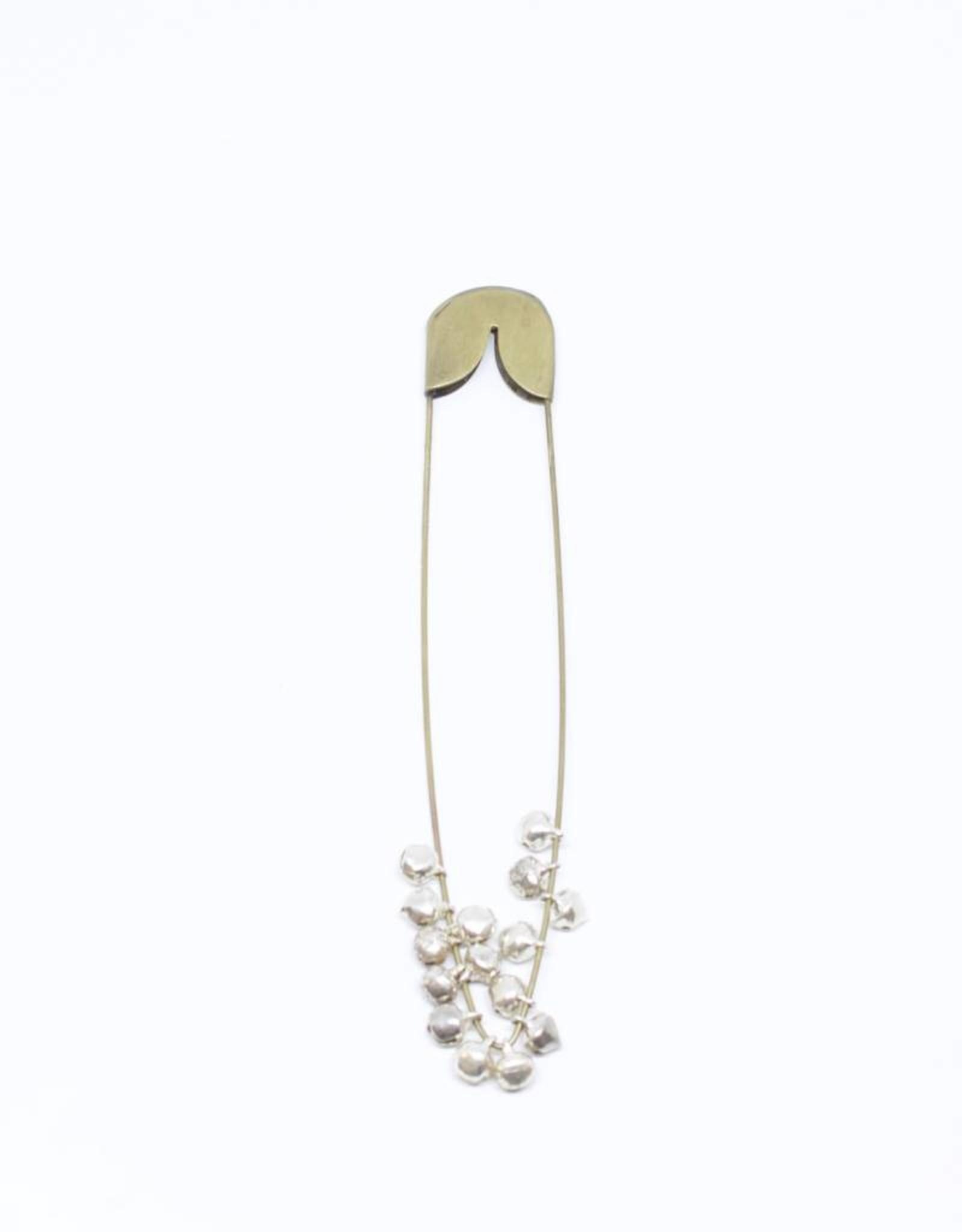 Fog Linen Brass Safety Pin with Bells - Medium
