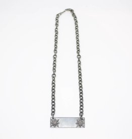 MooMoo Designs Pave Diamond Plate Necklace with Stars