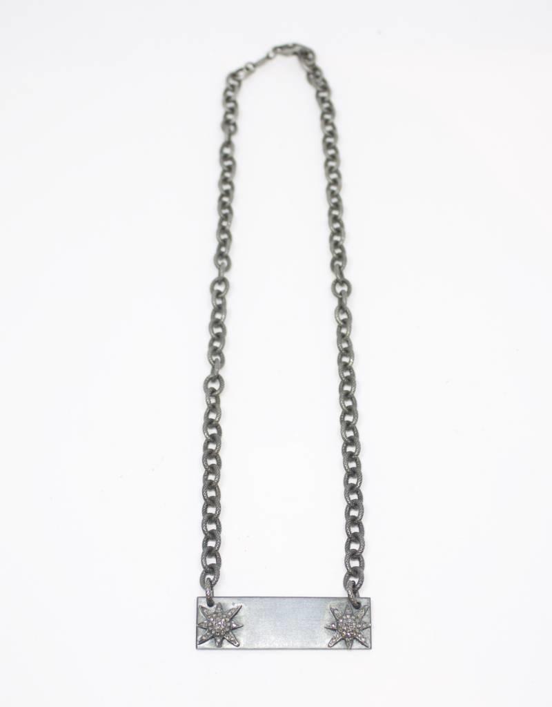 MooMoo Designs Pave Diamond Plate Necklace with Stars