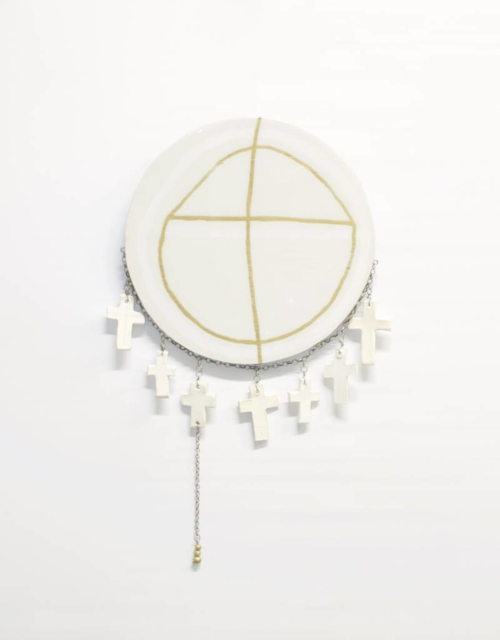 Entouquet Gold Design Circle Tile with Clay Crosses on Chain