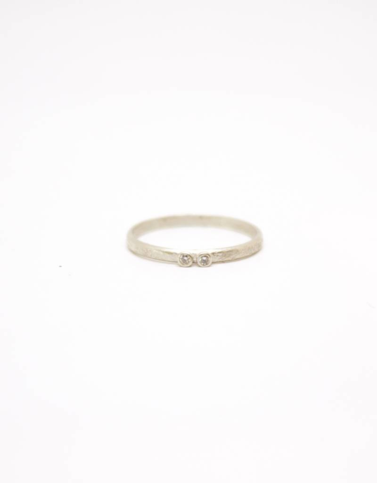 Sarah Swell Weathered Stacking Ring - 2 Diamond
