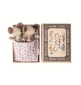 Maileg Baby Mice Twins in Box - Polka Dot Blankie