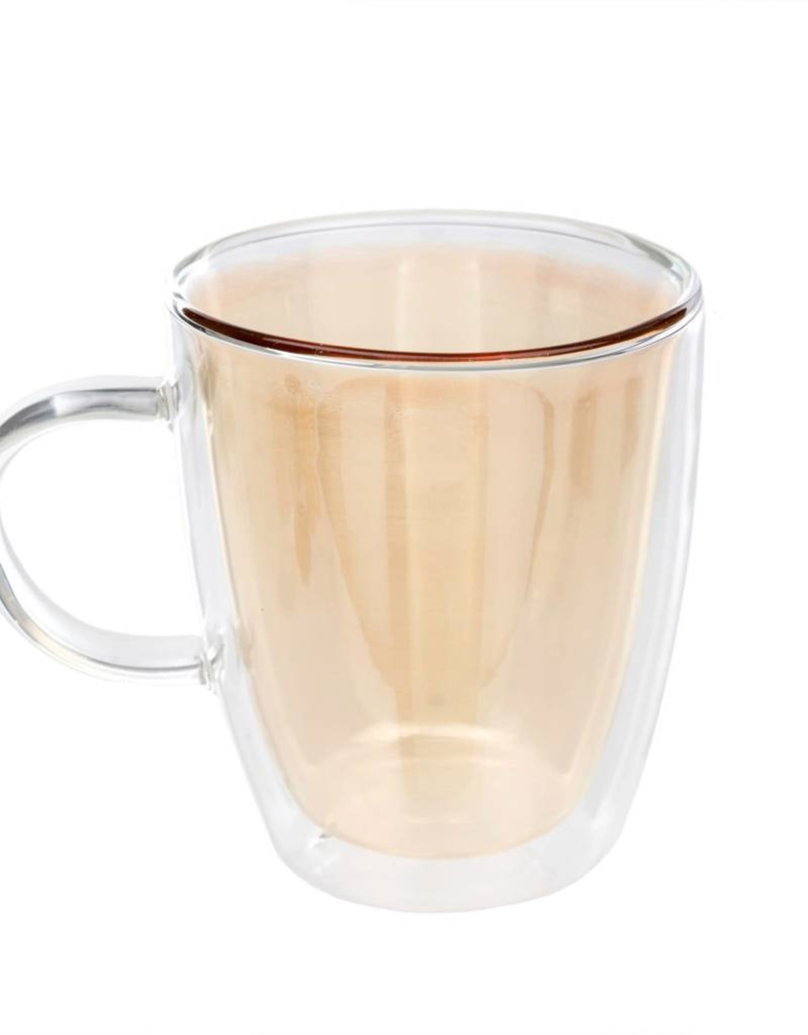 Indaba Double Wall Glass Cup - Gold