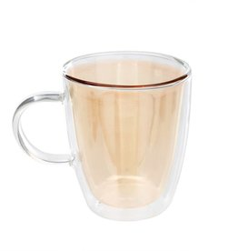 Double Wall Glass Cup - Gold