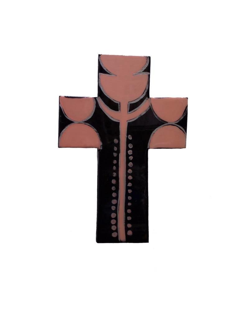 Entouquet Peach Tulip Design Black Cross Tile