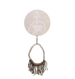 Entouquet Tribal Design Circle with Jute Fringe, Clay End Piece  - Large