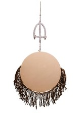 Entouquet Pink Circle Tile with Large Floral Topper and Jute Fringe - Large