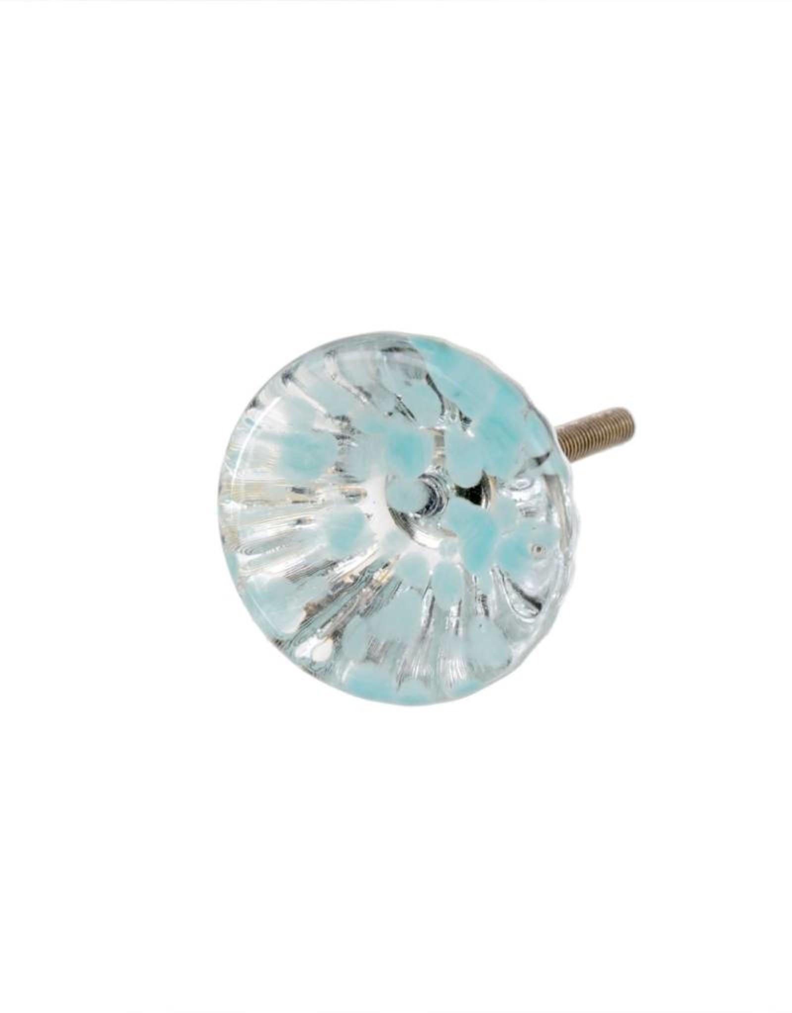 Indaba Anemone Glass Knob - Aqua