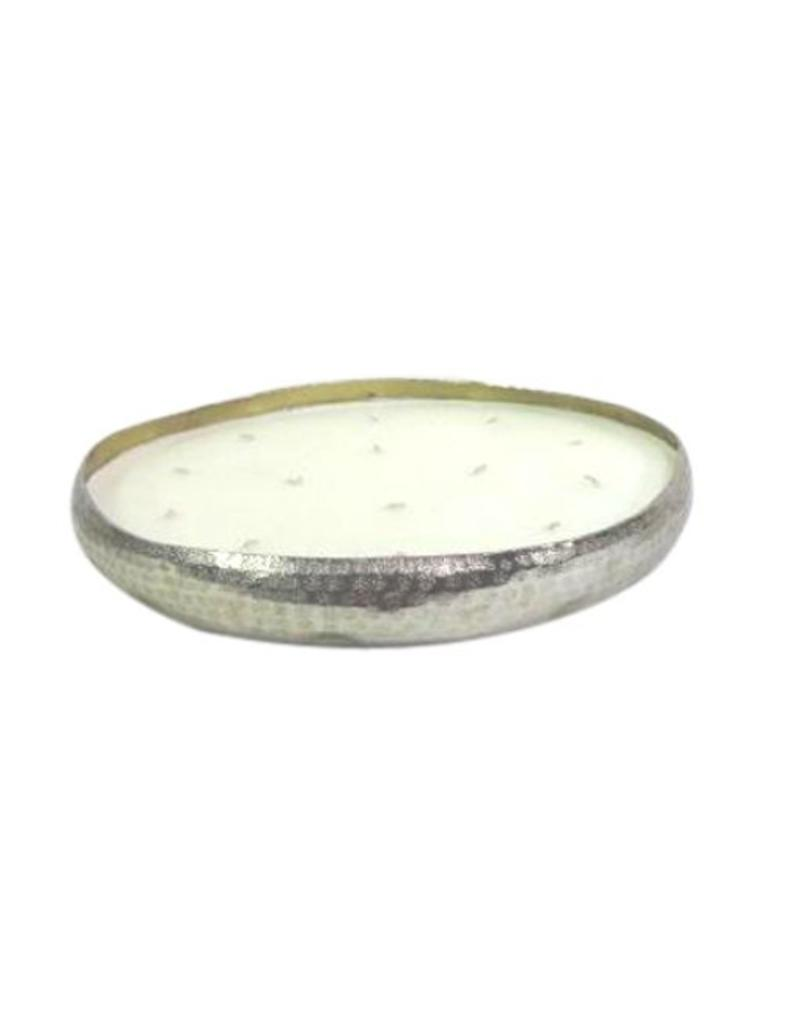 BIDK Home Hammered Tray Candle - Silver - Small