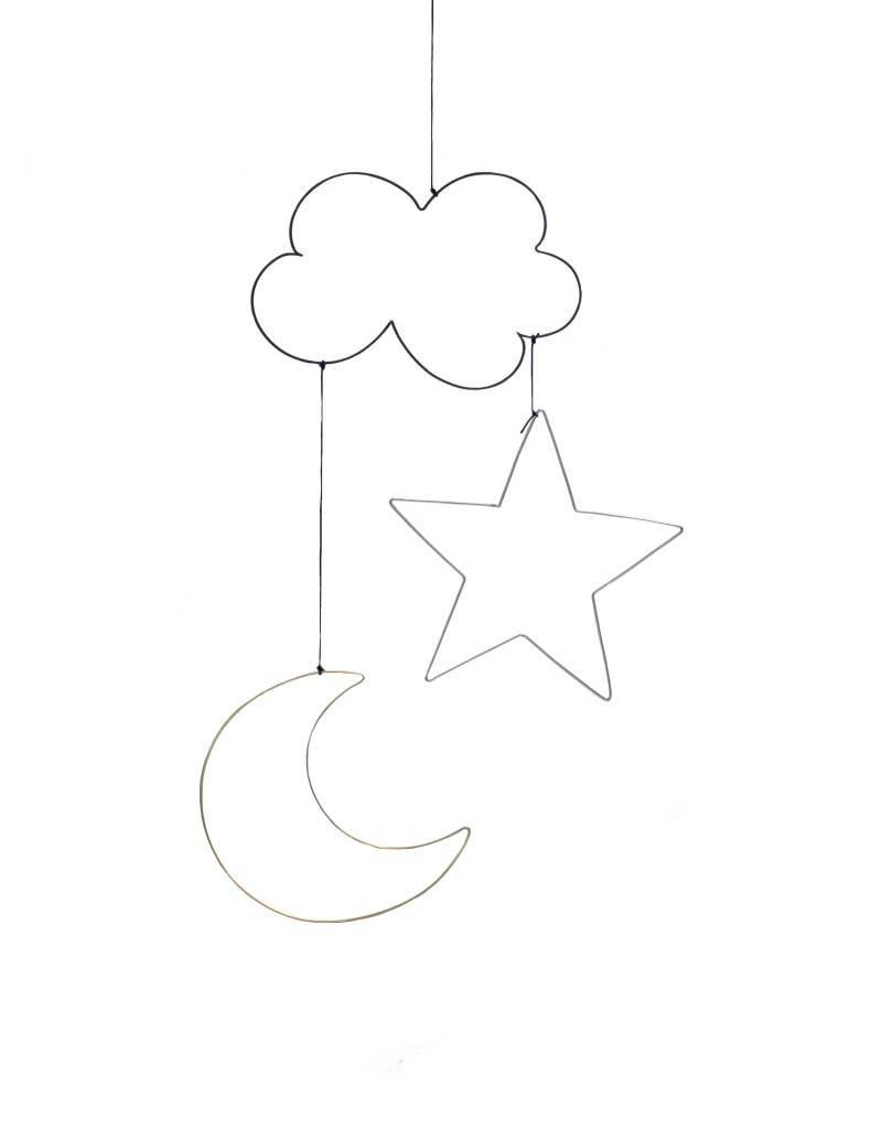 Gauge NYC Moon, Star, Cloud Wire Twinkle Hanging Mobile