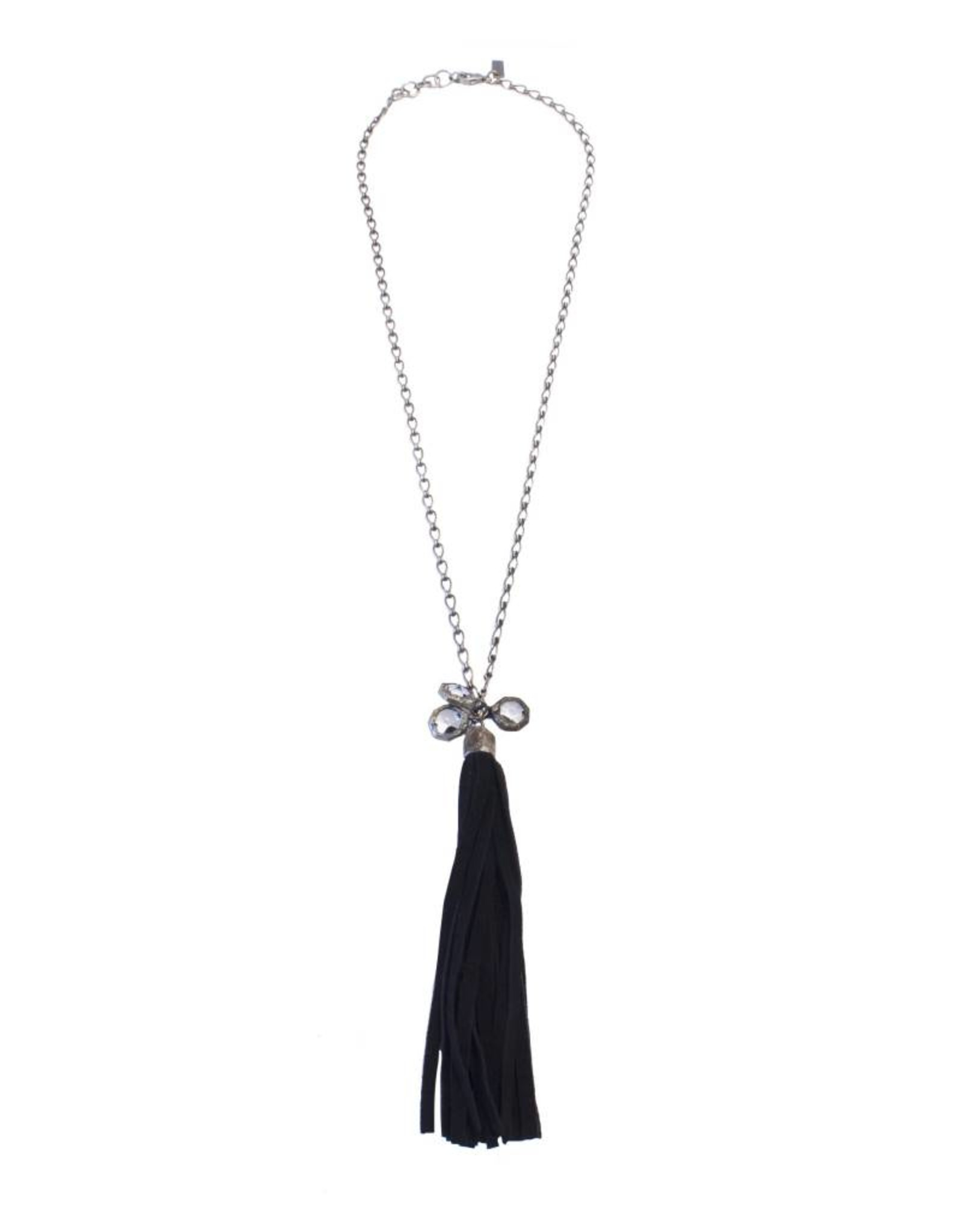 Jamie Dietrich 3 Dots of Crystal Long Necklace with Black Suede Tassel