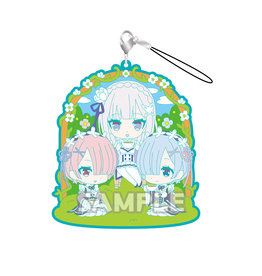 Bushiroad Re:Zero Emilia Rem and Ram Tea Time Rubber Strap RICH