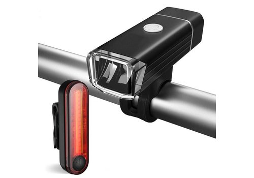 BC USB Rechargeable 180 Lumen Front and Rear Bike Light Set