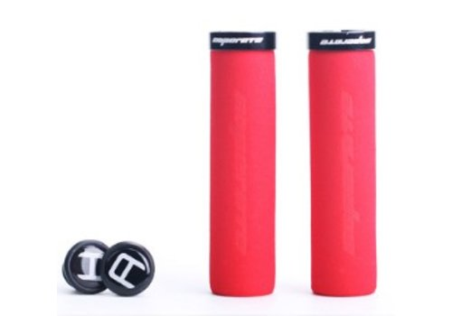 Blue Cycles Foam Lock On Grips Red