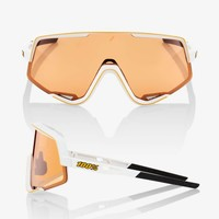 100% Glendale Soft Tact Off White Sunglasses - Persimmon Lens