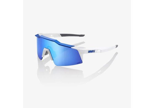 100% Speedcraft SL Matte White/Metallic Blue Sunglasses - HiPER Blue Multilayer Mirror Lens