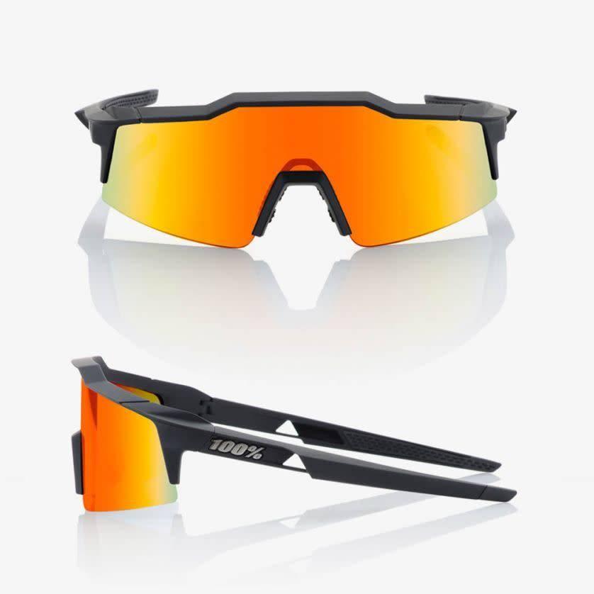 eec31ca95e 100% Speedcraft SL Soft Tact Black Sunglasses - HiPER Red Multilayer Mirror  Lens