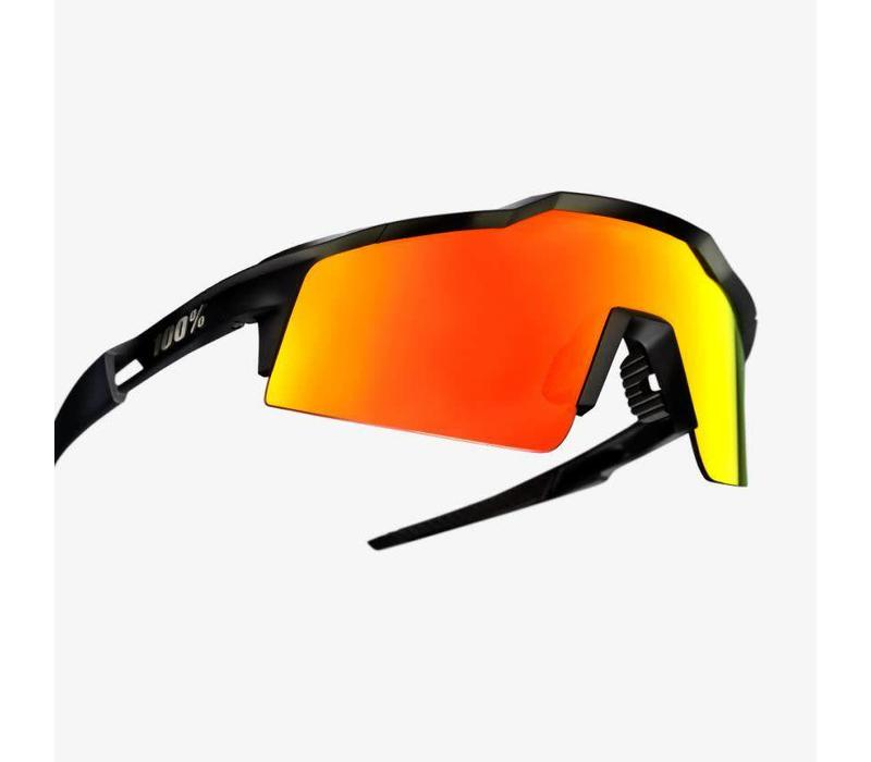 100% Speedcraft SL Soft Tact Black Sunglasses - HiPER Red Multilayer Mirror Lens