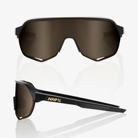 100% S2 Matte Black Sunglasses - Soft Gold Lens