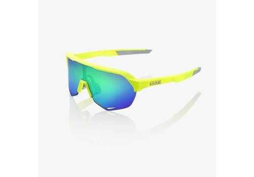 100% S2 Matte Fluorescent Yellow Sunglasses - Green Multilayer Mirror Lens