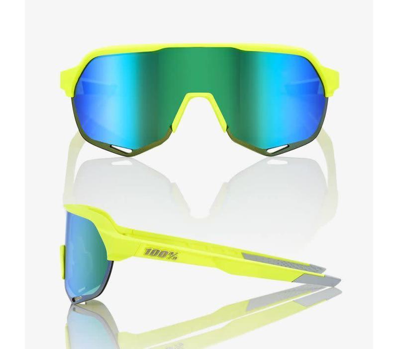 100% S2 Matte Fluorescent Yellow Sunglasses - Green Multilayer Mirror Lens
