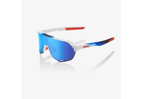 100% S2 Matte White / Geo Print Sunglasses - HiPER Blue Multilayer Mirror Lens