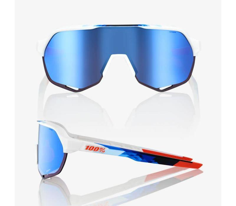 100% S2 Matte White / Geo Print Sunglasses - HiPER Blue Multilayer Mirror Lens