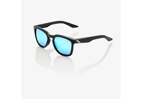 100% Hudson Matte Black Sunglasses - HiPER Blue Multilayer Mirror Lens
