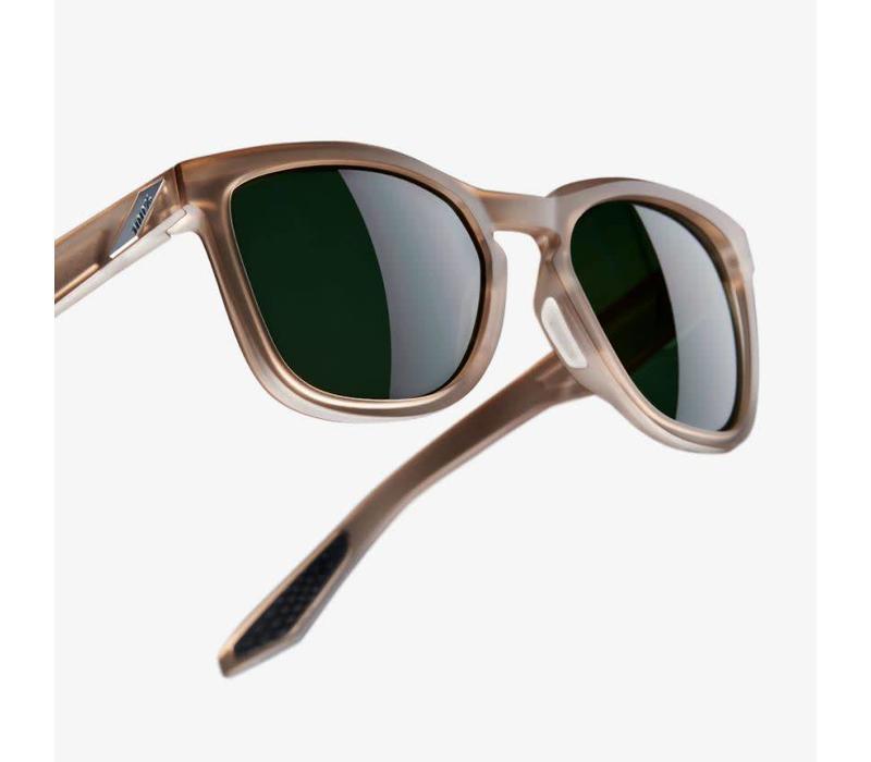 100% Hudson Soft Tact Translucent Crystal Sepia Sunglasses - Grey Green Lens