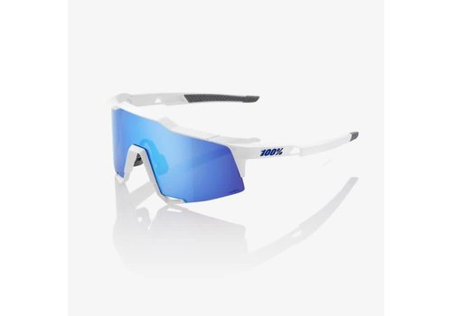 100% Speedcraft Matte White Sunglasses - HiPER Blue Multilayer Mirror Lens