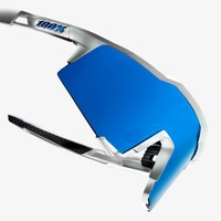 100% Speedcraft Matte White Sunglasses - HiPER Blue Multilayer Mirror Lens