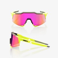 100% Speedcraft Polished Black/Fluorescent Yellow Sunglasses - Purple Multilayer Mirror Lens