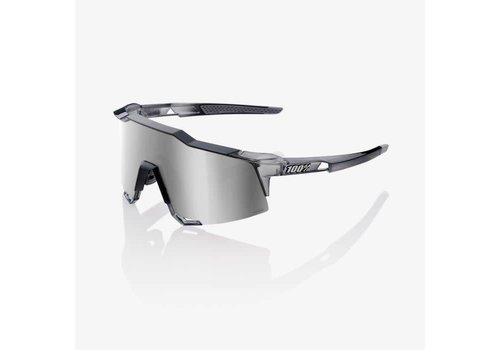 100% Speedcraft Polished Translucent Crystal Grey Sunglasses - HiPER Silver Mirror Lens