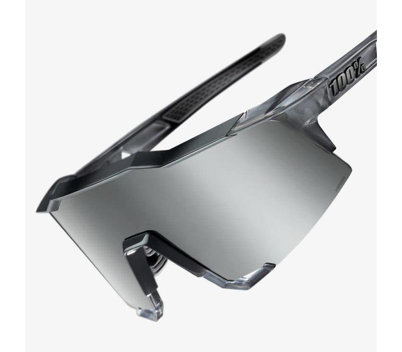 100% Speedcraft Polished Translucent Crystal Grey Sunglasses - HiPER Silver Mirror Lens