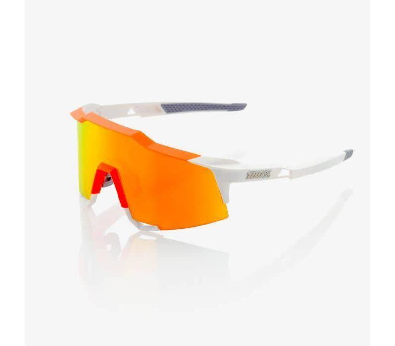 100% Speedcraft Soft Tact Day Glo Orange/White Sunglasses - HiPER Red Multilayer Mirror Lens