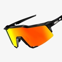 100% Speedcraft Soft Tact Black Sunglasses - HiPER Red Multilayer Mirror Lens