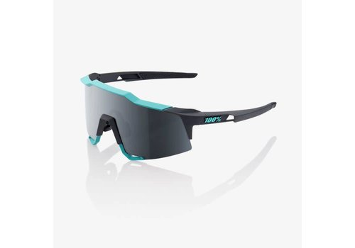 100% Speedcraft Soft Tact Celeste Green/Cement Grey Sunglasses - Black Mirror Lens