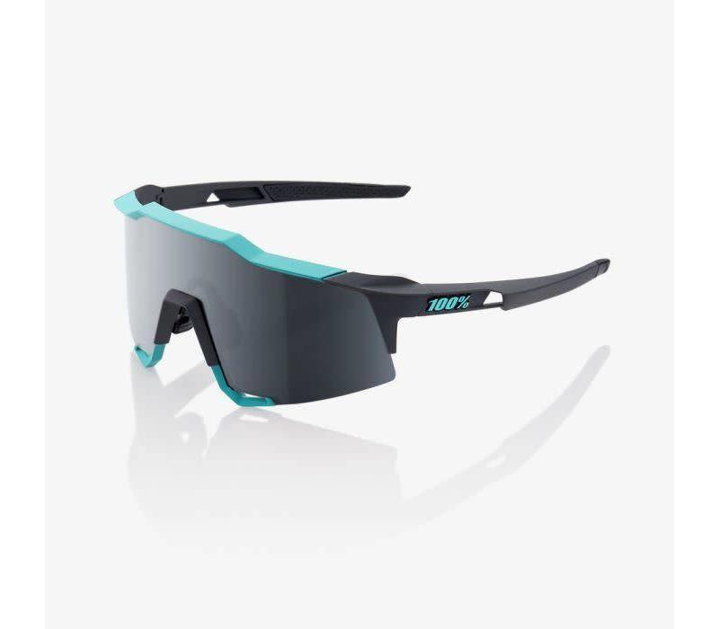 100% Speedcraft Soft Tact Celeste Green/Cement Grey Sunglasses - Black Mirror Lens
